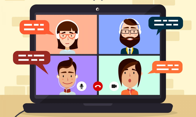 Videokonferenz mit Freunden und Kollegen